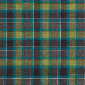 Glencoe - Braerburn - Lime green, dark grey and cyan checked fabric made from 100% acrylic