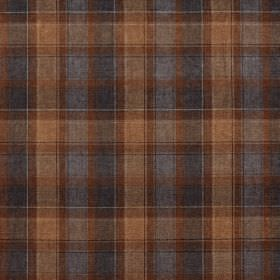 Glencoe - Sinclair - 100% acrylic fabric with a checked design in brown and two different shades of dusky blue