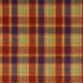 Glencoe - Patterson - Brightly coloured checked acrylic fabric, including shades such as lime green, orange, blood red and dark purple