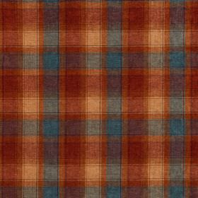 Glencoe - Mellis - Dark red, dusky blue and various different shades of orange making up acrylic fabric's simple checked design