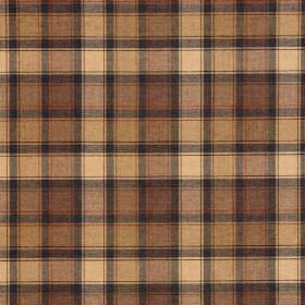 Glencoe - Scott - Warm golden cream and brown shades making up a checked pattern on fabric made entirely from acrylic