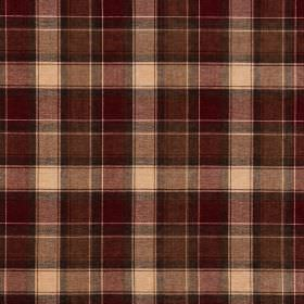 Glencoe - Murray - Cream coloured acrylic fabric checked with deep, rich shades of chocolate brown and burgundy