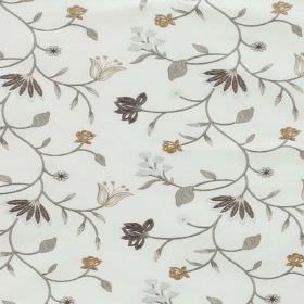 Blissful - Natural - Floral patterned polyester and cotton blend fabric in several different shades of grey, with some gold-green