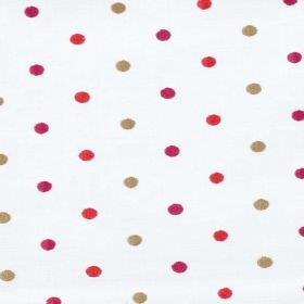 Seedling - Berry - Fabric made from polyester and cotton in white, with polka dots in bright fuschia, red and light brown colours