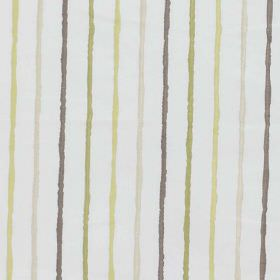 Stigma - Moss - Rough grey, cream, lime green and pale yellow stripes running vertically down plain white cotton-polyester blend fabric