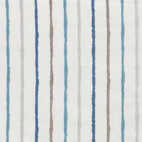 Stigma - Bluebell - White fabric made from a blend of polyester and cotton, with a striped design in two shades of blue and two shades of grey