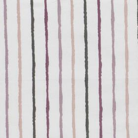 Stigma - Boudoir - Striped fabric made from polyester and cotton in white, dark grey, aubergine, lilac and light pinkish beige