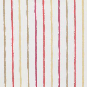 Stigma - Berry - White polyester-cotton blend fabric with a rough striped design in bright pink and orange, olive green and light yellow