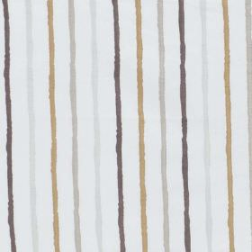 Stigma - Natural - Rough stripes of dark brown, gold and two different greys against a background of white polyester-cotton blend fabric