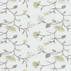 Blissful - Moss - Fabric blended from polyester and cotton in white, with light green and off-white florals, light grey leaves and vines
