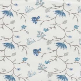 Blissful - Bluebell - Several different shades of blue and grey making up a pattern of flowers, leaves and vines on white blended fabric