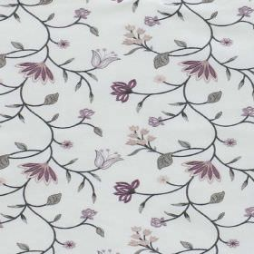 Blissful - Boudoir - Pale grey polyester-cotton blend fabric with a floral, leaf and vine design in shades of grey and purple