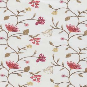 Blissful - Berry - A floral pattern in shades of pink-red with khaki leaves and vines, on fabric blended from polyester and cotton in white