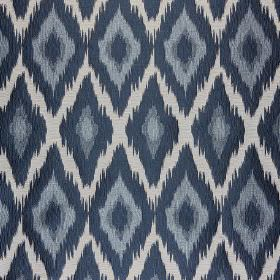 Bass - Kind Of Blue - Midnight blue, pale grey-white and two shades of grey-blue making up a diamond pattern on polyester and cotton fabric