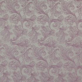 Carlton - Orchid - Purple leafy swirls creating a delicate, elegant design on an iron grey cotton and polyester blend fabric background
