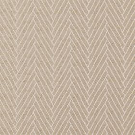 Elba - Linen - Thick diagonal lines creating a stylish herringbone effect design on 100% polyester fabric in grey and creamy beige