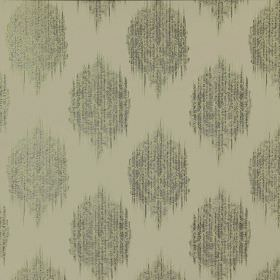 Pavilion - Oasis - Various shades of grey making up a 100% polyester fabric with a repeated pattern of smudged, streaked spots
