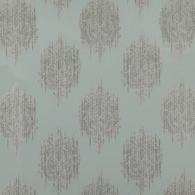 Pavilion - Duckegg - Light blue-grey 100% polyester fabric behind a smudged, streaked design of spots printed in two light shades of grey
