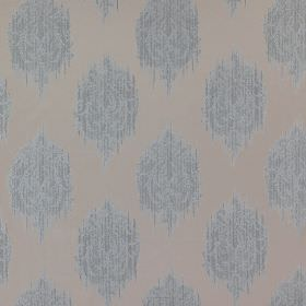 Pavilion - Frost - Light shades of blue and grey making up a repeated, smudged, streaked spot design on 100% polyester fabric