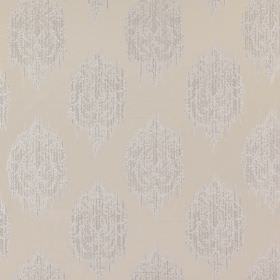 Pavilion - Linen - Several pale shades of grey making up a 100% polyester fabric with a repeated, smudged, slightly streaked spot design