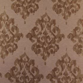 Tunbridge - Mocha - Light brown polyester, linen and cotton blend fabric with repeated, ornate designsprinted in dark brown shades