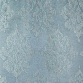 Tunbridge - Duckegg - Elegant, light shades of blue making up a polyester, linen and cotton blend fabric featuring ornate, detailed patterns
