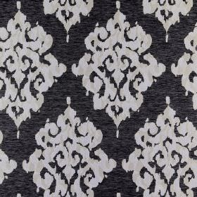 Tunbridge - Dice - Fabric made from polyester, linen and cotton in black and very pale grey-white, with repeated, detailed designs