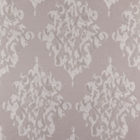 Tunbridge - Taupe - Intricate, elegant patterns printed repeatedly in very pale grey on a grey polyester, linen and cotton fabric background
