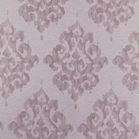 Tunbridge - Blossom - Light grey polyester, linen and cotton blend fabric with a patchily printed, intricate, repeated design in purple-grey
