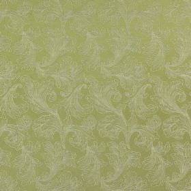 Carlton - Moss - Elegant leafy swirls creating a small, subtle, elegant pattern on cotton and polyester fabric in silver grey and light green