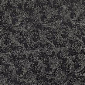 Carlton - Raven - Black fabric made from cotton and polyester behind an elegant pattern of leafy swirls made in a light grey colour