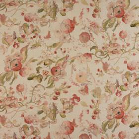 Melody - Coralime - Light, muted shades of red and green making up a vintage style floral design on putty coloured 100% cotton fabric
