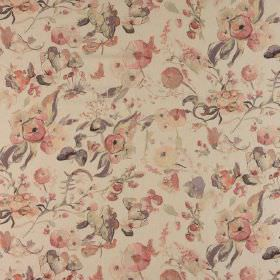 Melody - Chiffon - Putty coloured 100% cotton fabric featuring a vintage inspired floral design in muted shades of pink, cream and grey