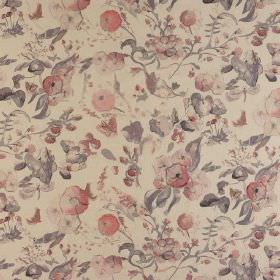 Melody - Cloud - Vintage inspired floral designs printed in muted shades of grey and pink on fabric made from 100% cotton