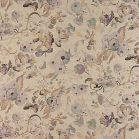 Melody - Mauve Mist - Fabric made from 100% cotton in light shades of grey and cream, featuring a vintage inspired floral design
