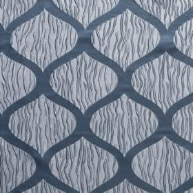 Kirigami - Lead - Large dark blue wavy lines with random wiggling light blue lines on a very pale blue-grey hard wearing fabric background