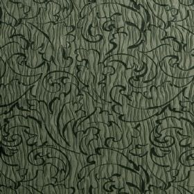 Pleat - Capers - Randomly striped mid green hard wearing fabric, covered with a pattern of dark green swirls