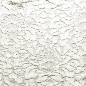 Shape - Angora - White hard wearing fabric with an ornate, raised pattern