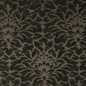 Shape - Wren - Hard wearing fabric in light brown, with a large, ornate floral pattern in black, which is raised
