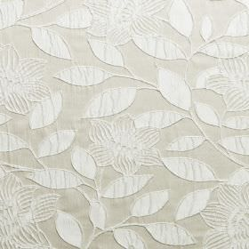 Washi - Bone - Raised white leaves and flowers on a light grey hard wearing fabric background