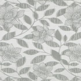 Washi - Flint - White hard wearing fabric as a background for a raised pattern of simple grey flowers and leaves