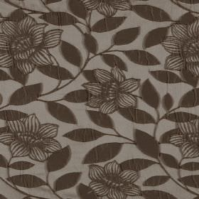Washi - Mustang - Brown flowers and leaves as a raised pattern on hard wearing fabric in grey