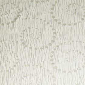 Pop Up - Moonbeam - Swirling dots of different sizes on a pattern of random wavy lines on a background of hard wearing fabric in cream-grey