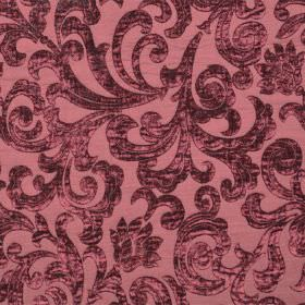 Liberty - Morello - Light dusky red-pink coloured hard wearing fabric, patterned with large textured swirls in deep red