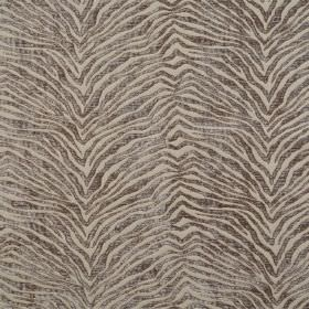 Leonardo - Sable - Zigzag animal stripe hard wearing fabric with a slight texture in two light shades of brown