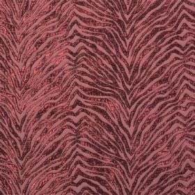 Leonardo - Morello - Dusky red coloured hard wearing fabric featuring a zigzagging animal stripe design with a slight shimmer