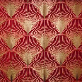 New York - Broadway - Luxurious red and gold fabric covered in a fan pattern