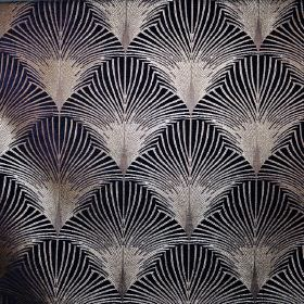 New York - Harlem - Black and pewter coloured fabric covered in a repeated fan pattern