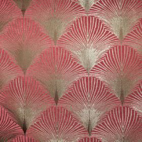 New York - Rockefeller - Fan print fabric in pink-red and shimmering beige