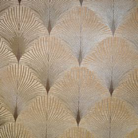 New York - Brooklyn - Metallic cream and grey coloured feather or fan print fabric